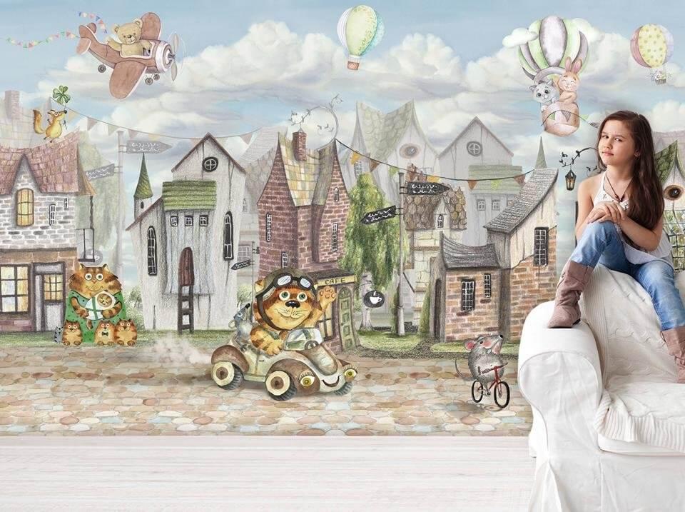детские фотообои в комнату. домики обои на стену. сказочные обои для детей.