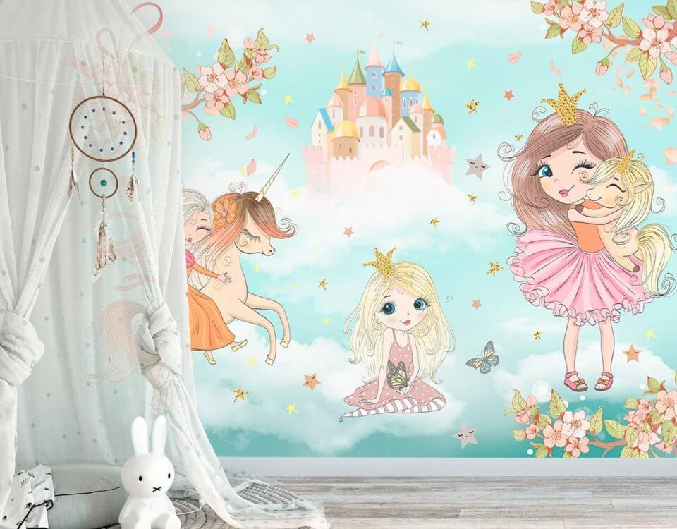 фотообои для девочек. принцессы на обоях. фотообои единороги. милые детские обои