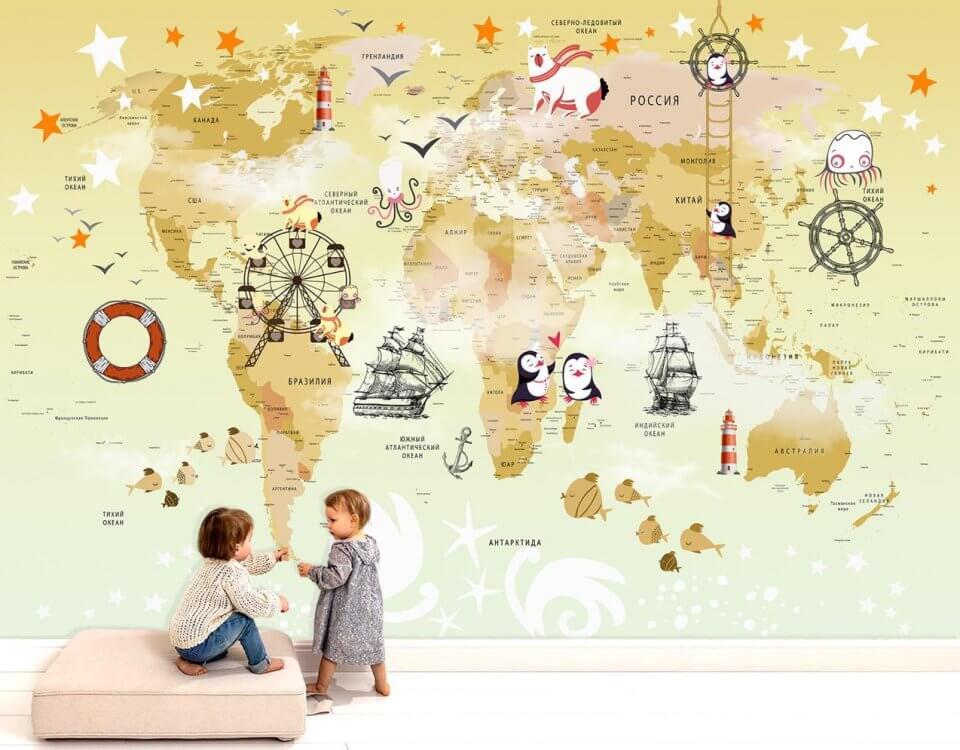 фреска для детей купить. фотообои детские карта мира с пингвинами. детская бесшовная карта на стену спб