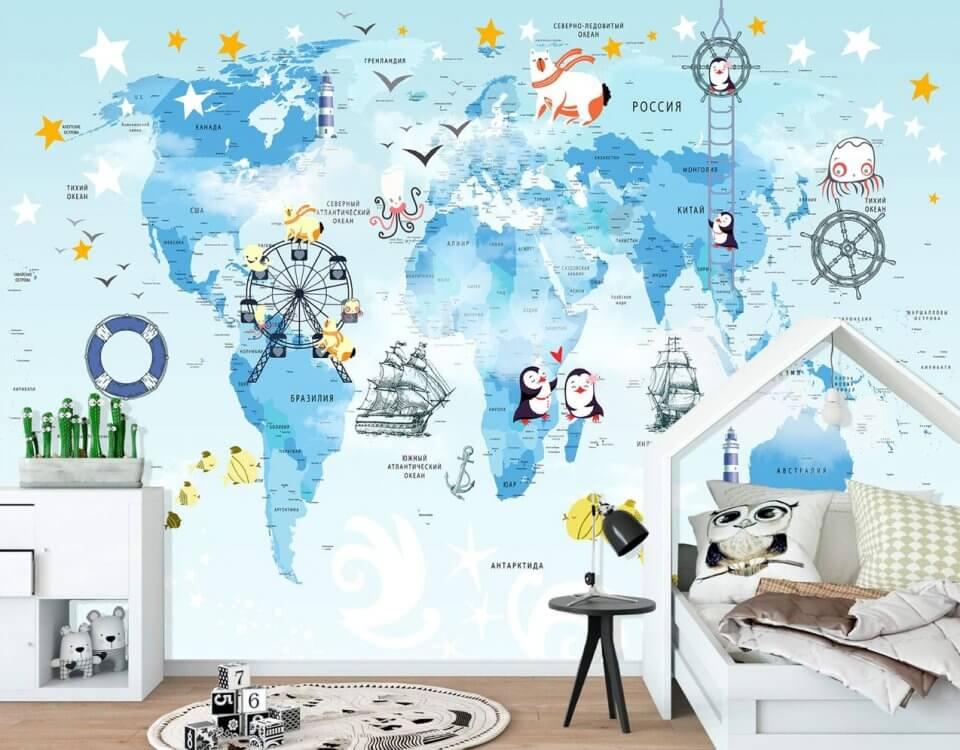 фотообои детская карта мира пингвины на карте мира. бесшовная карта мира