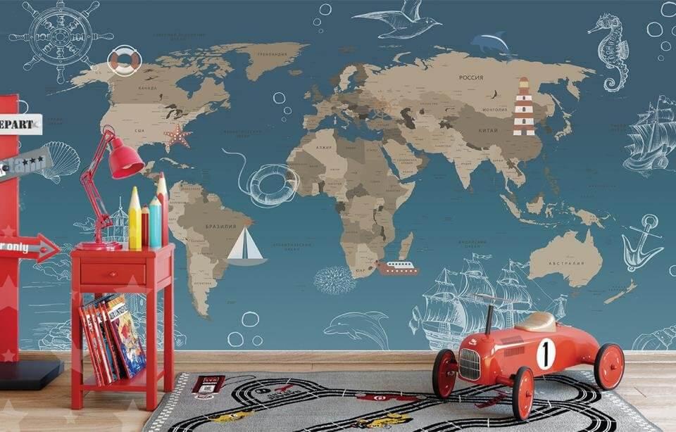 фотообои детская карта карта мира бесшовная карта. карта на синем фоне