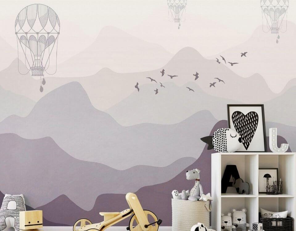 дирижабли обои воздушные для стены в сиреневых оттенках горы акварель обои на стену