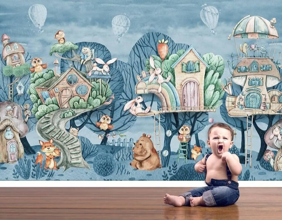 фотообои сказочный лес с домиками на деревьях. детские обои необычные