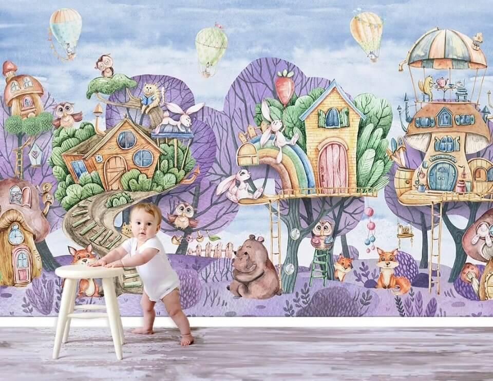 фотообои в детскую лес. фотообои домики