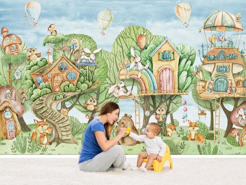 детские необычные обои на стену. фотообои с домиками