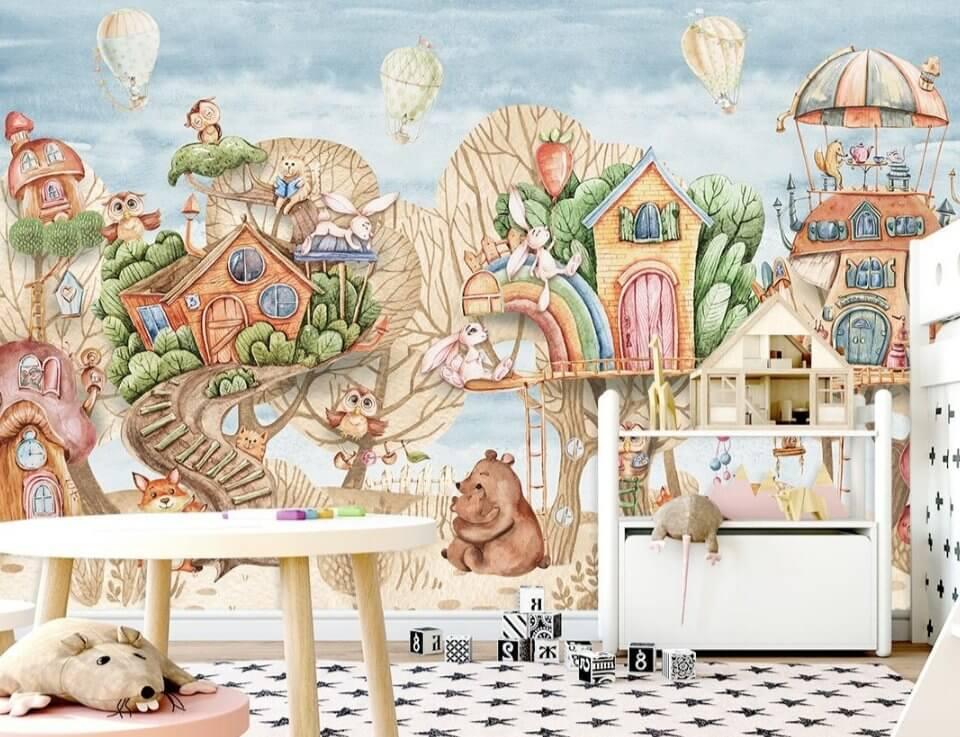 фреска для детей купить. фотообои для детской сказочные фотообои