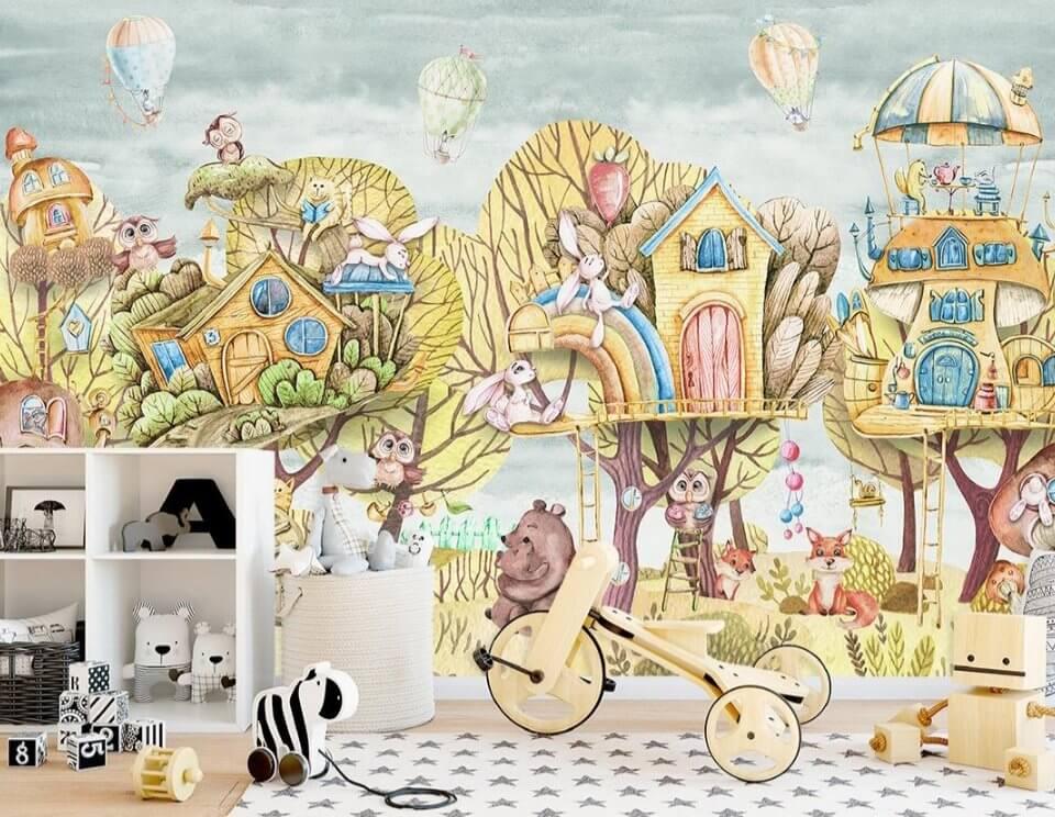 фотообои с домиками на деревьях. сказочный лес обои в детскую