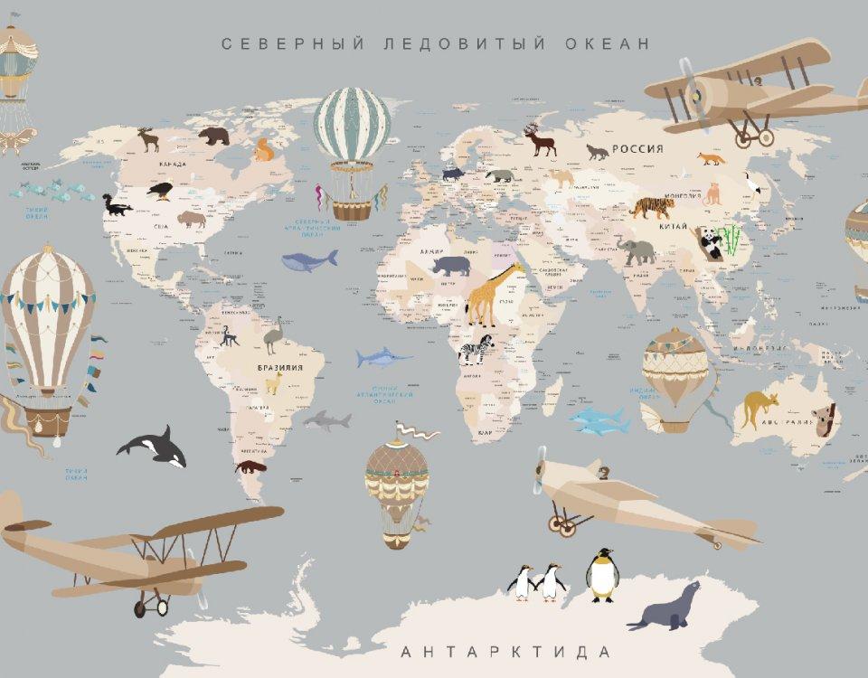 купить бесшовную карту миру на стену в детскую