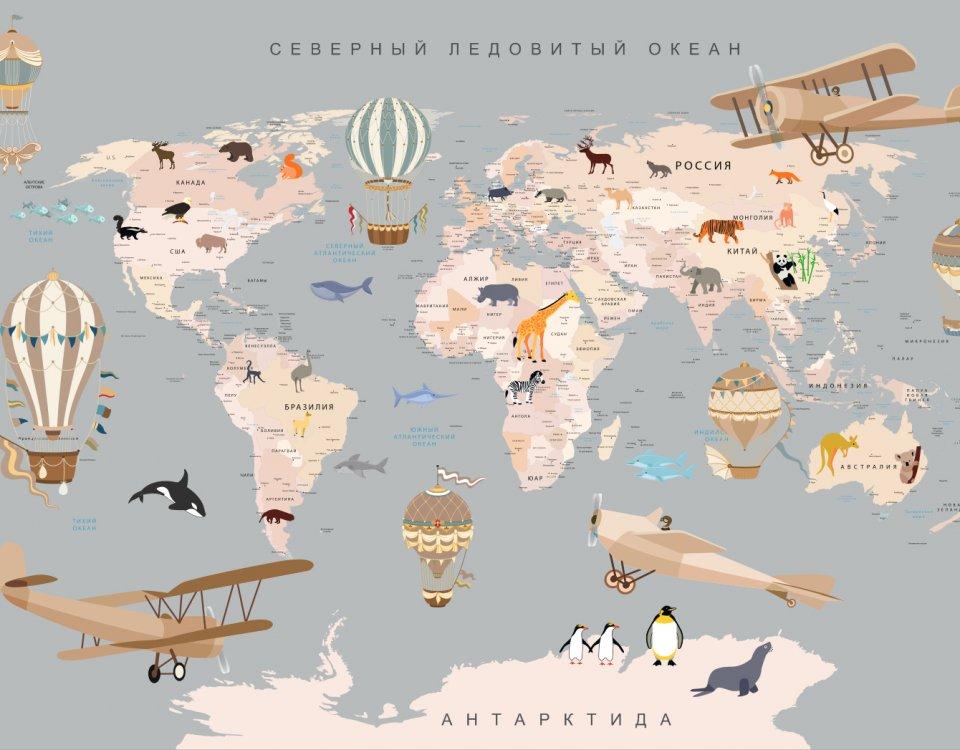 купить фотообои карта мира