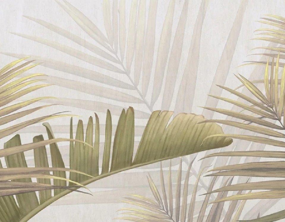фотообои фреска листья пальмы крупные ветви пальмы печать на флизелиновых материалах