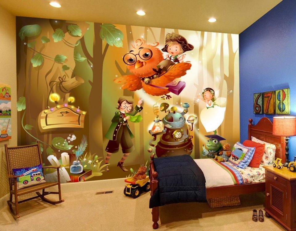 фотообои сказка сказочный лес обои в детскую. сказочная сова фотообои печать