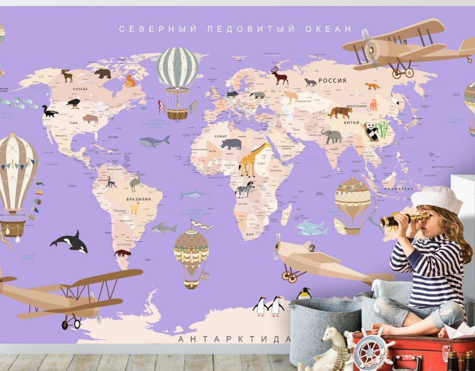 фотообои карта мира +для детей