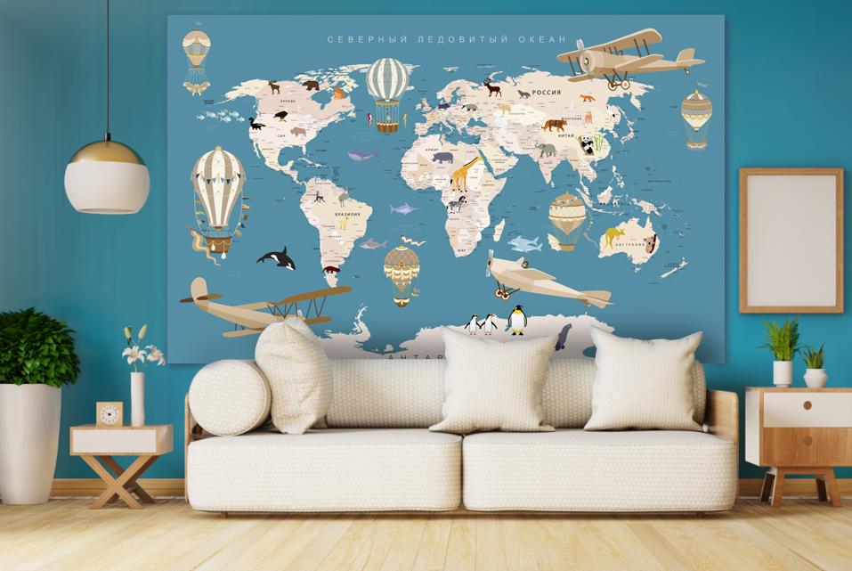 панно с картой мира купить по своим размерам. Заказать печать панно по своим размерам