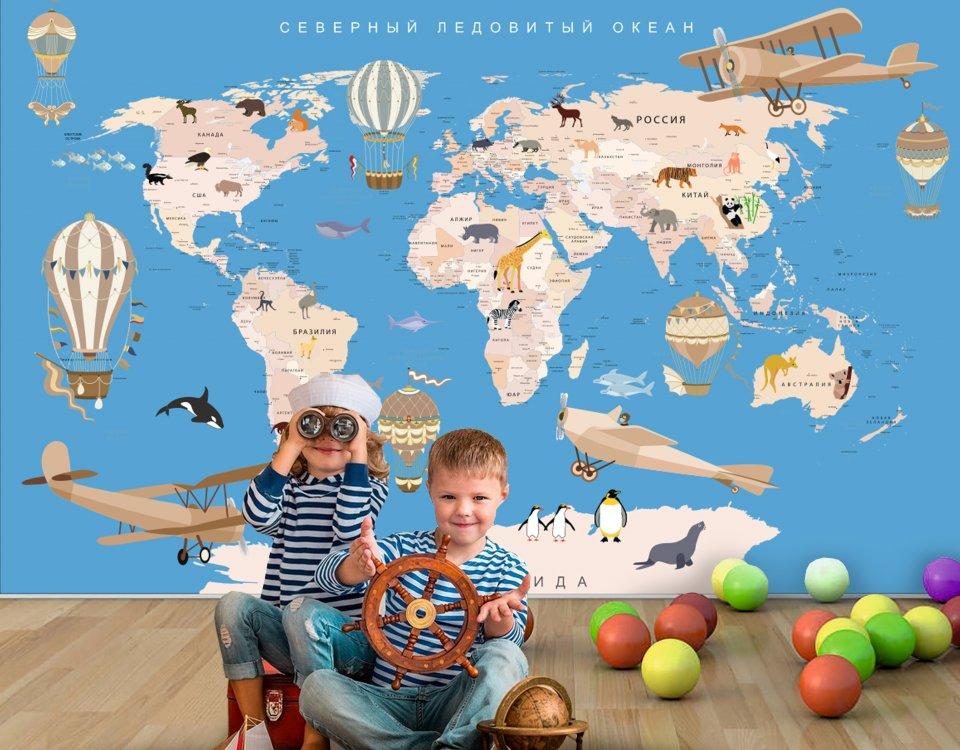 купить карту мира фотообои в детскую для мальчика. Карат мира фотообои на голубом фоне. Печать ЭКО