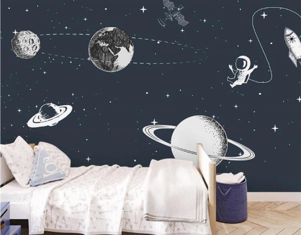 фотообои космос купить. детские фотообои космос темный фон