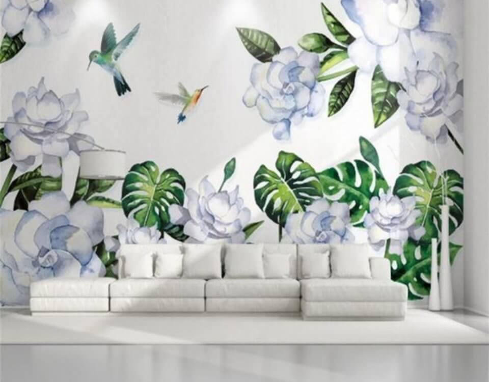 декоративные фотообои птицы и тропические листья принты на стену купить