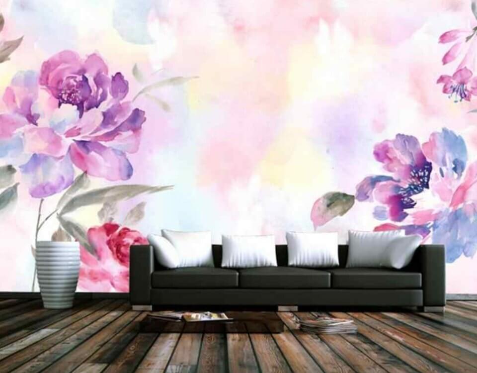 фотообои акварельные цветы нежные фотообои в гостиную купить
