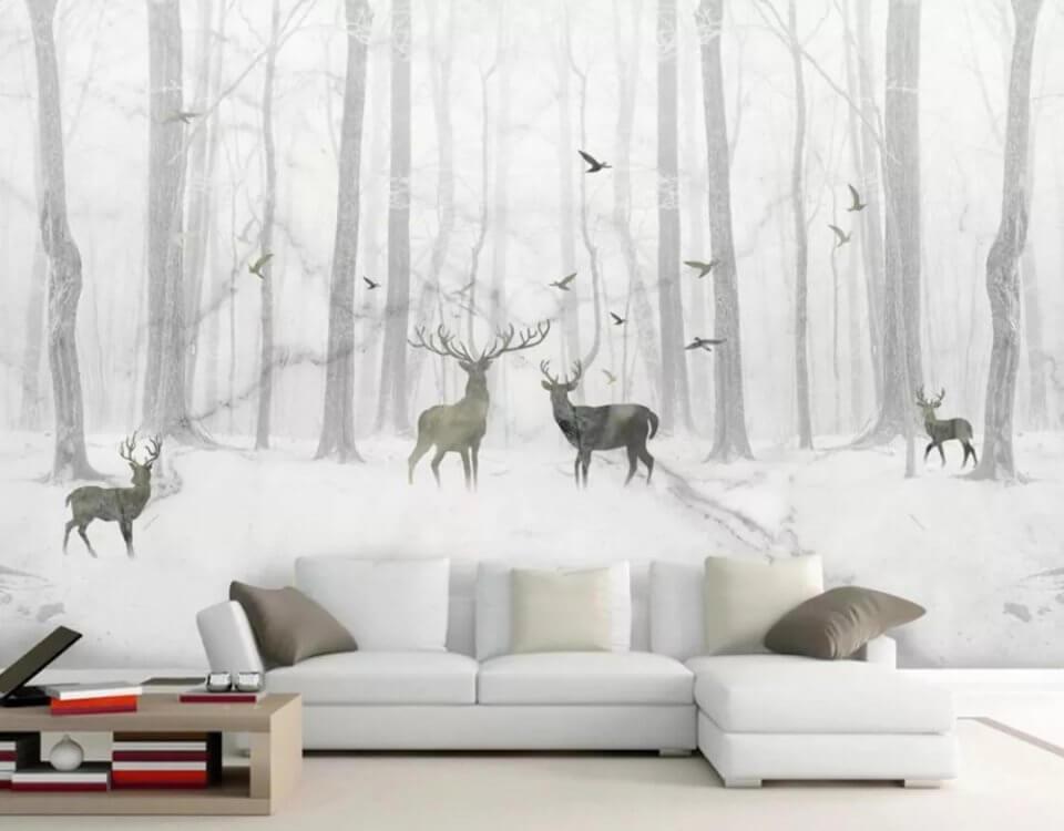 фотообои лес олени в лесной чаще фотообои купить
