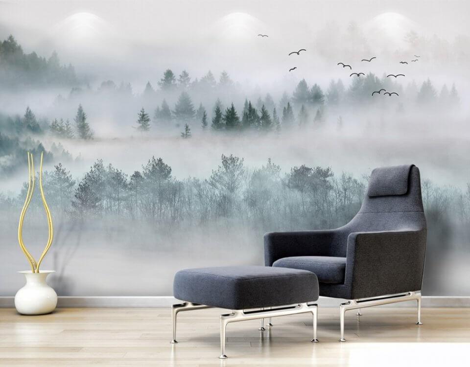 фотопанно туманный лес фотообои по своим размерам купить с доставкой