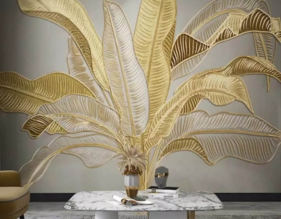 фрески банановые листья золотые фотообои
