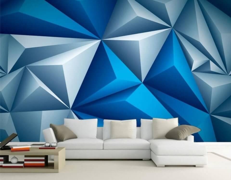 синие фотообои геометрия фон на стену купить