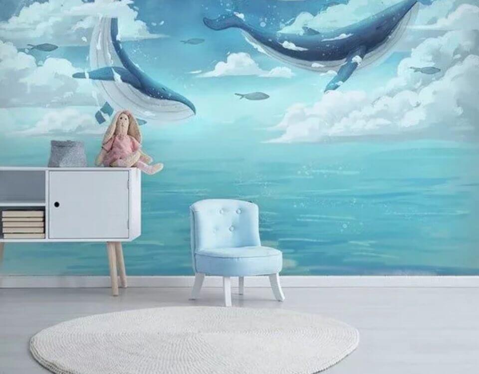 фотообои киты в небе большой каталог принтов с китами на рулонных и бесшовных фресках