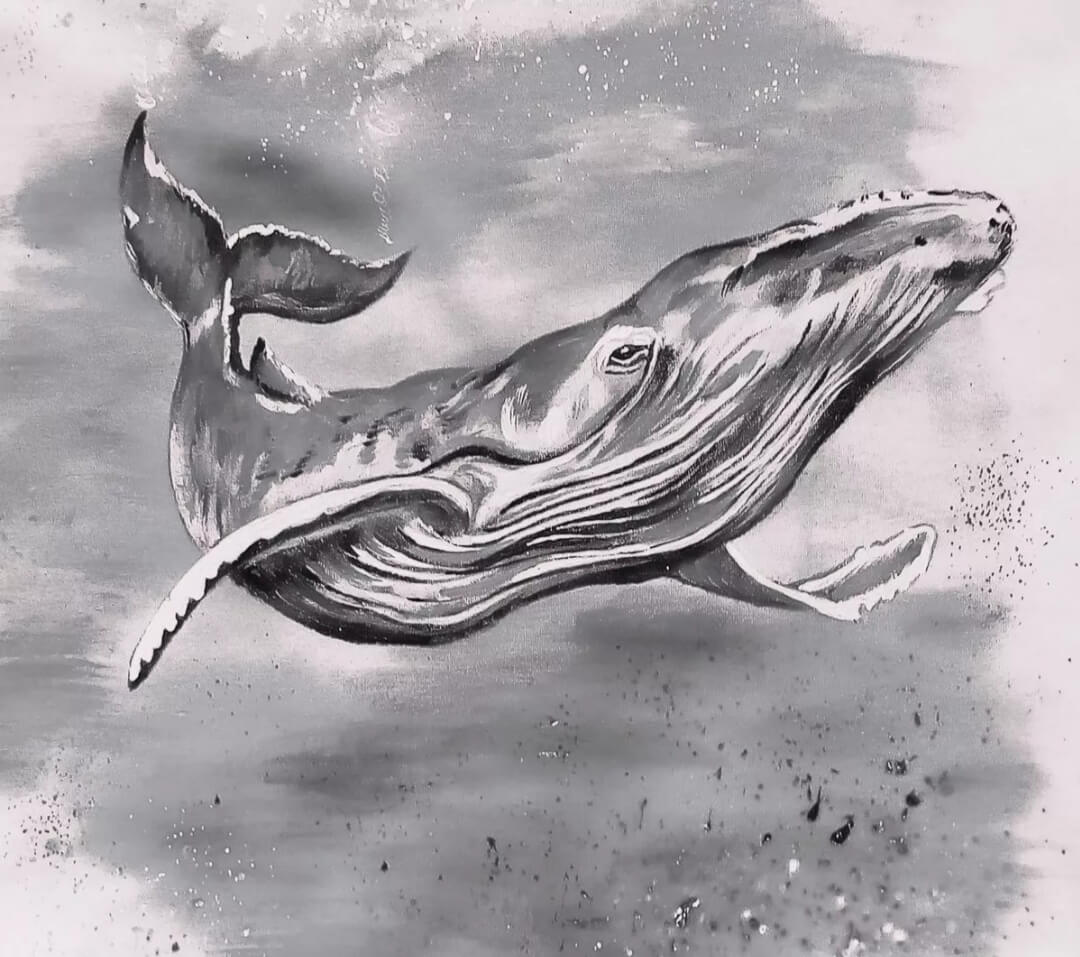 фотообои черно-белый кит