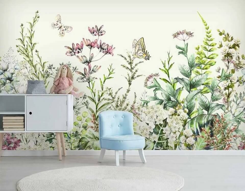 фотообои цветы фреска полевые цветы на стену ЭКО печать