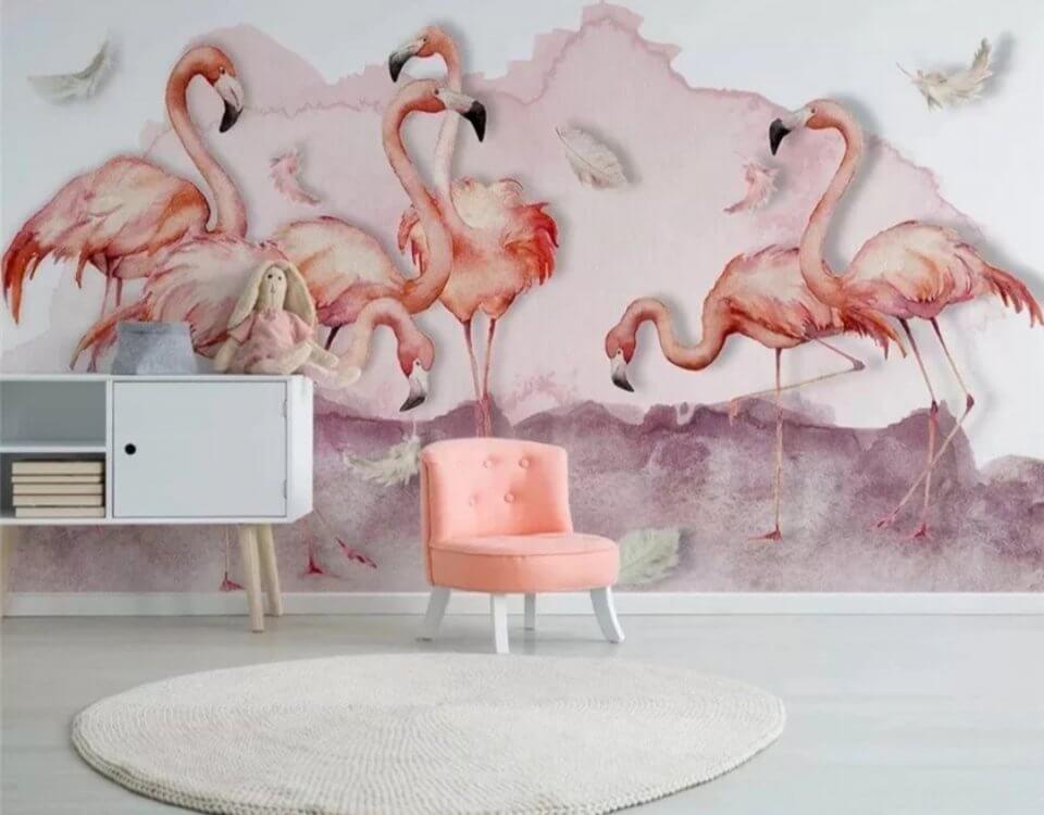 фотообои фламинго розовые облака фон обои