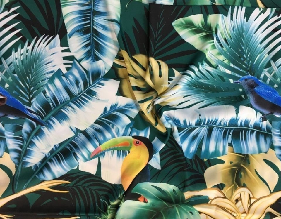 фотообои птица тропические листья