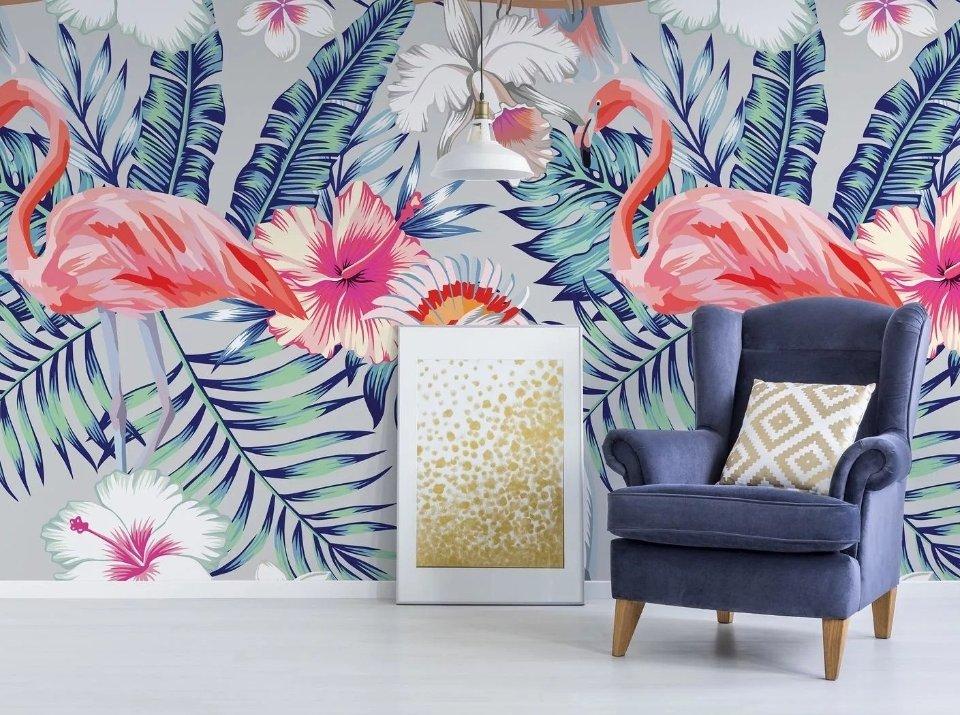 фотообои фламинго крупные пальмовые ветви печать фотообоев