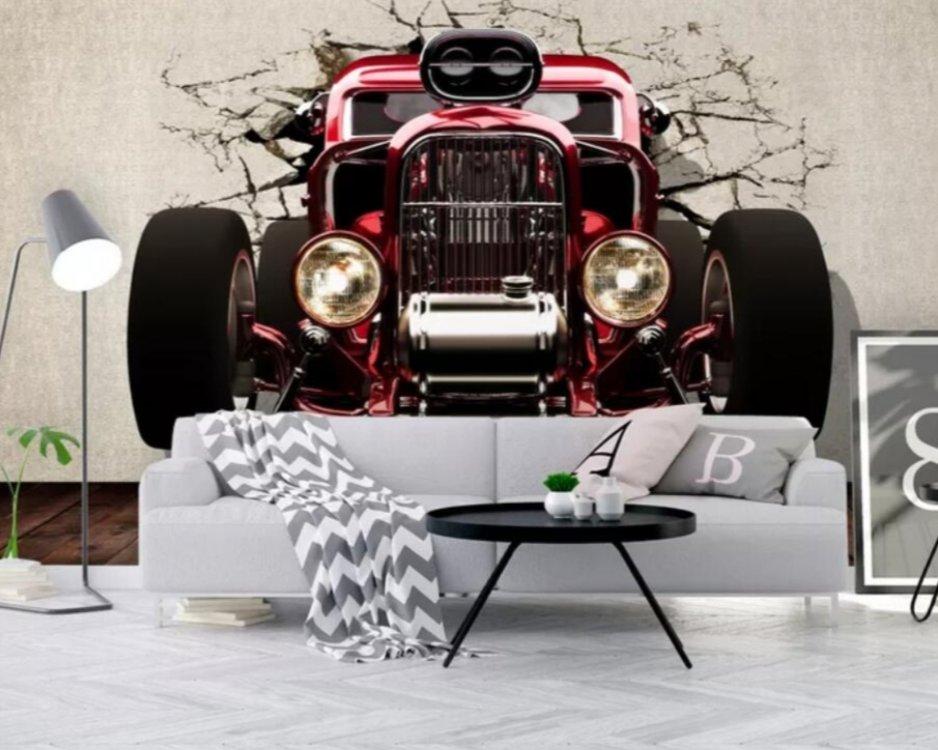 купить фотообои ретро авто красный автомобиль обои на стену