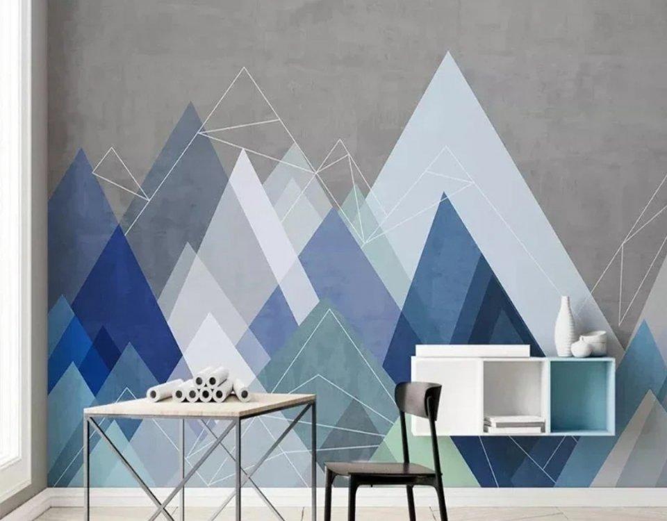 фотообои горы серый фон синие горы купить по своим размерам