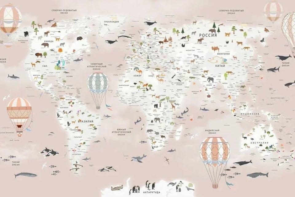 фотообои карта мира на розовом фоне
