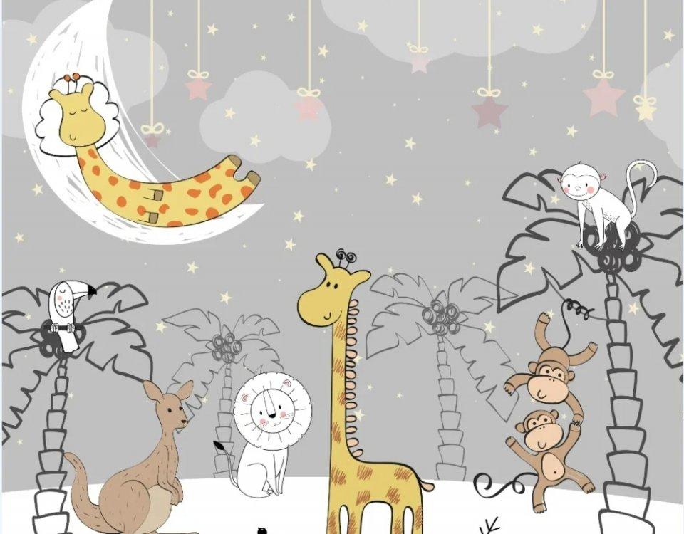 фотообои с жирафом купить по своим размерам. Большой каталог фотообоев в детскую. Только ЭКО печать