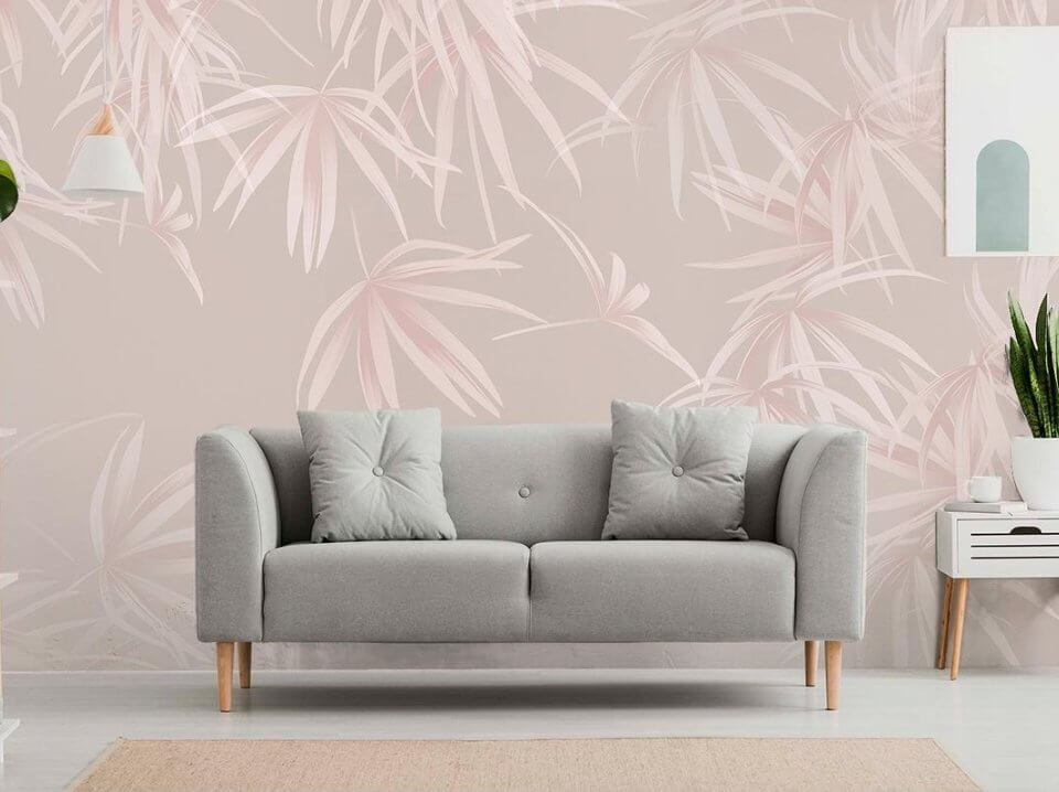 фреска на стену купить. фотообои нежные листья тропики обои на стену гостиную