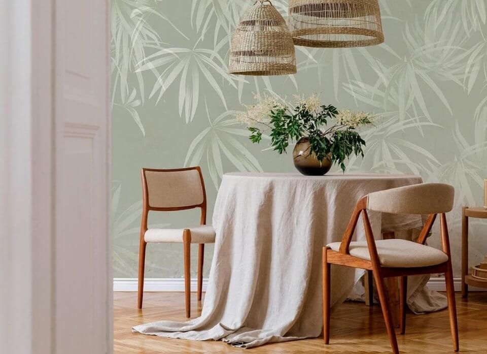 фотообои зеленый фон ветки красивые обои для стен