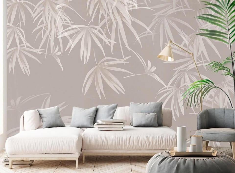 фотообои на светлом фоне красивые листья обои бесщовные флизелиновые фрески на стену
