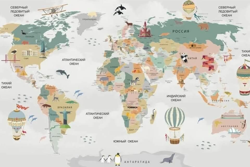 необычная карта мира на стену в детскую печать по своим размерам латексная печать фотообоев
