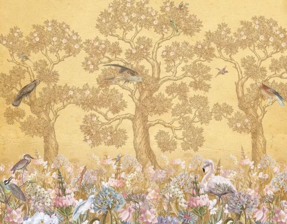 фреска на бежевом фоне красивая поляна печать на флизелиновых материалах