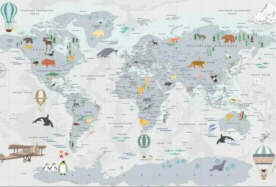 обои карта мира в детскую на сером фоне печать ЭКО