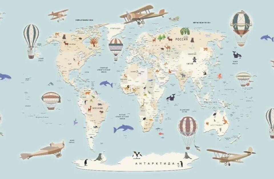 обои карта мира на стены для детской