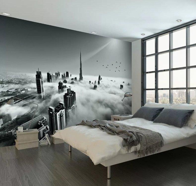 фотообои черно - белые небоскребы в тумане