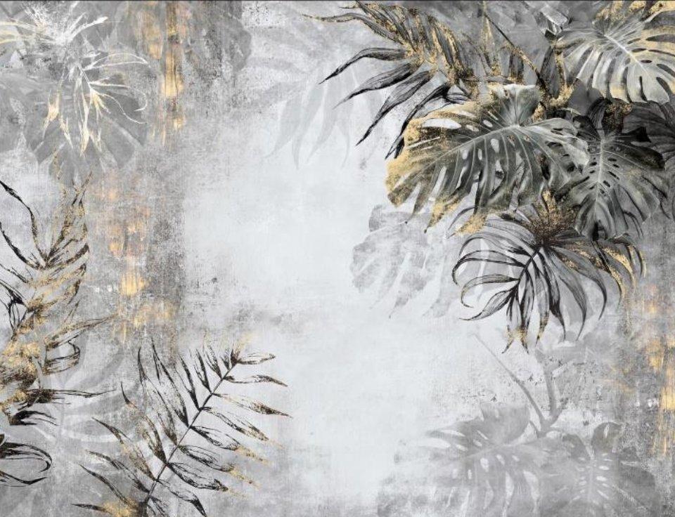 фотообои под фреску красивые пальмовые листья на серой стене в стиле лофт