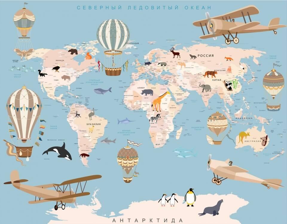 обои карта мира на стены для детской купить по своим размерам