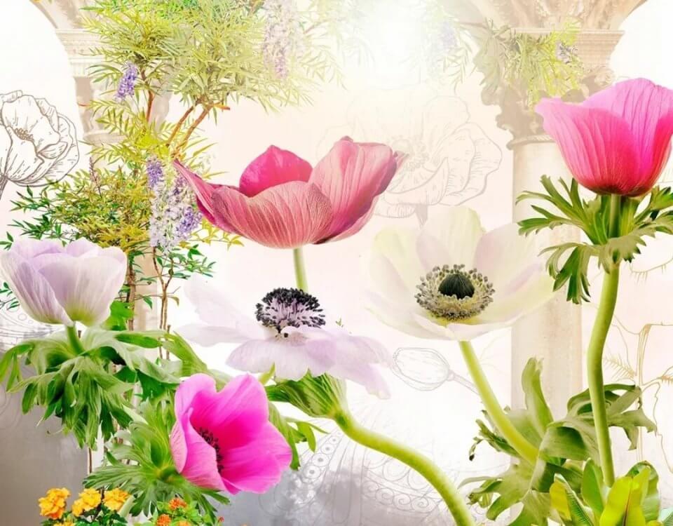 бесшовные фрески цветы купить по акции