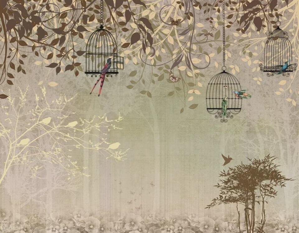 фотообои +на стену +с птицами
