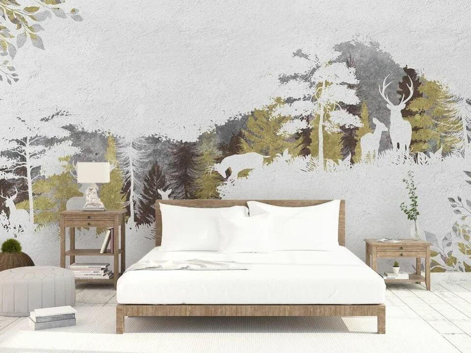 обои пейзаж расширяющие пространство светлый фон в спальню