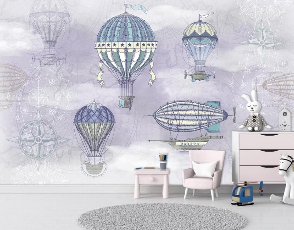 фотообои воздушные корабли для детской комнаты