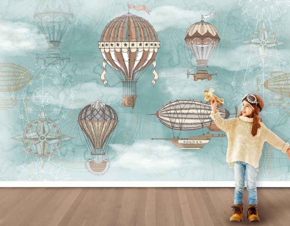 детские воздушные шары обои дирижабль в небе
